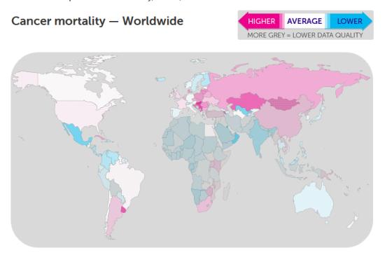 Cancer mortality worldwide 2012