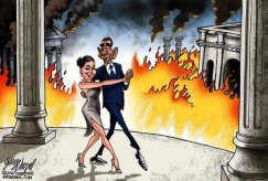 Obama dances the tando while Europe Brussels burns