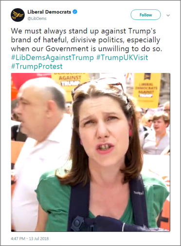 2018.07.13 LibDems Swinson standing up to Trump