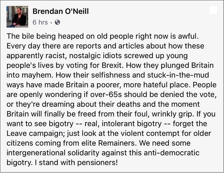 Brendan O'Neill on ageist bigotry of Remainers