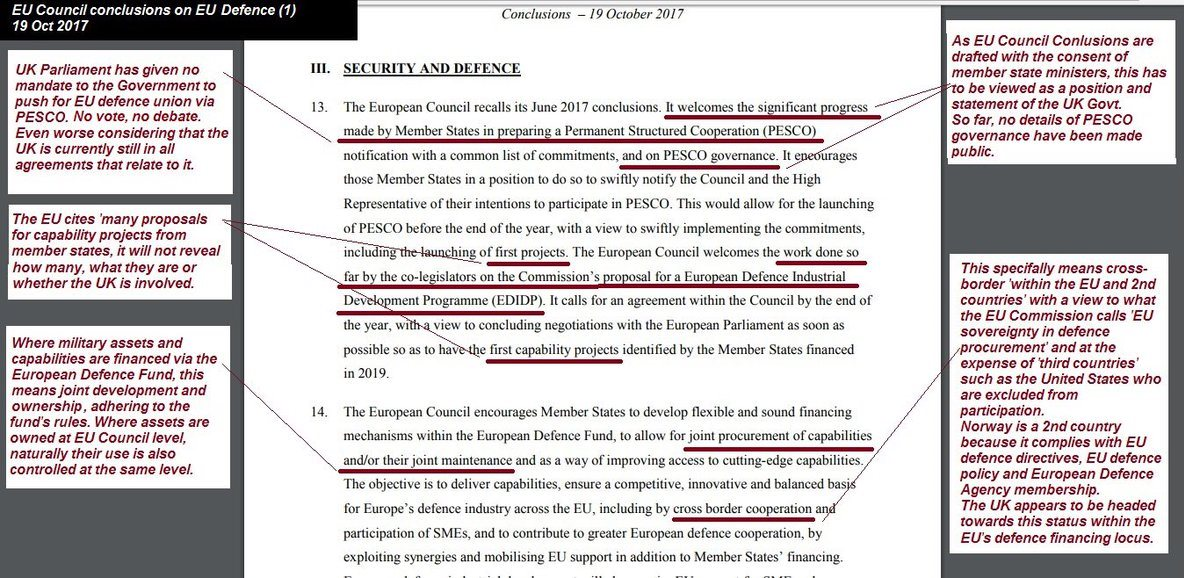 What UK Gov has agreed re EU Defence