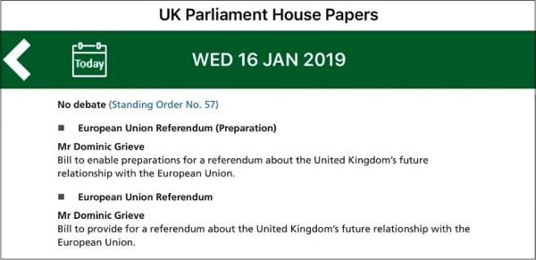 hoc order paper grieve bills to stop brexit