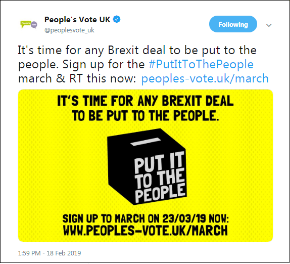 2019.02.18 People's Vote March & Demo Sat 23-Mar-2018