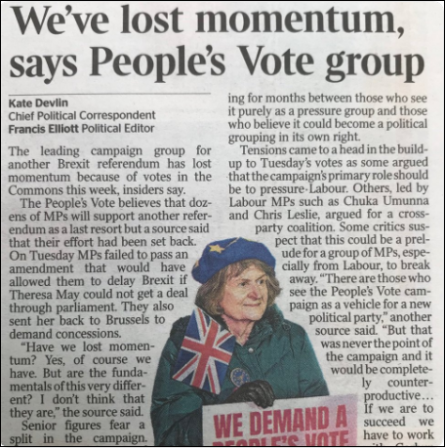 People's Vote lost momentum Times 31-Jan-2019