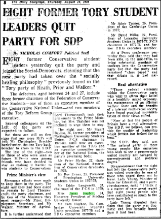 Soubry quits for SDP 1981