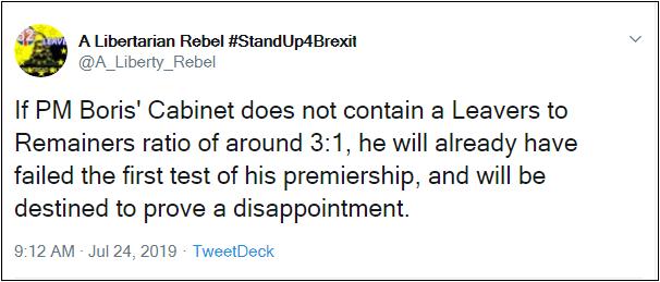 2019.07.24 Me ALR on Boris Cabinet Remainer-Leaver ratio