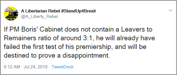2019.07.24 Me ALR on Boris Cabinet Remainer-Leaver ratio