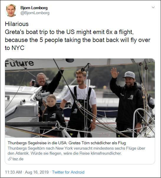 2019.08.16 Lomborg Greta's Ark crew flights