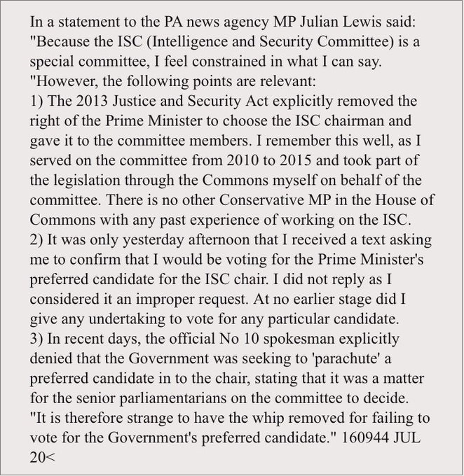 2020.07.16 Julian Lewis statement